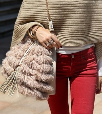 Brown Fashion Fringe Tas