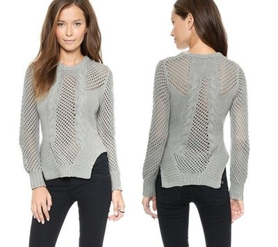Grey Knitted Fashion Sweater