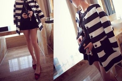 Striped Fashion Trend Coat