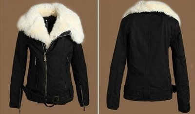 Black fur wool jacket