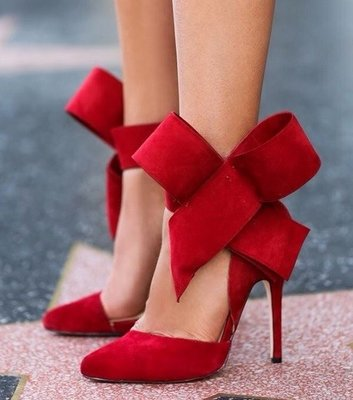 Red Big Bow Pumps