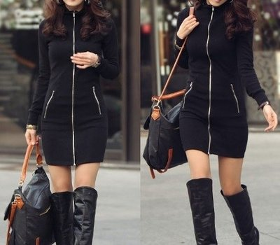 Long Black Zipper Vest