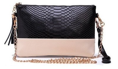 Black Beige Snake Clutch