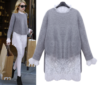 Grey White Lace Knit
