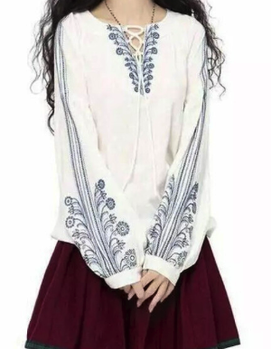 White blue lady blouse