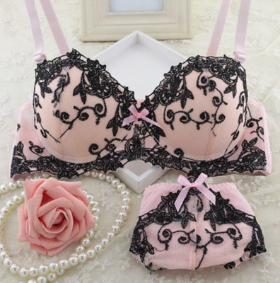Pink Black Bra set