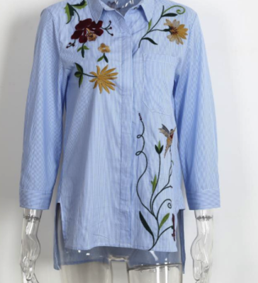 Flower Striped Blouse