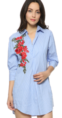 Blue white flower blouse