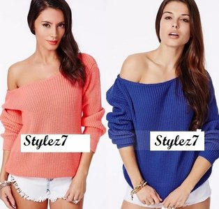 One Shoulder Coral And Blue