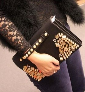 Shiny Black Clutch